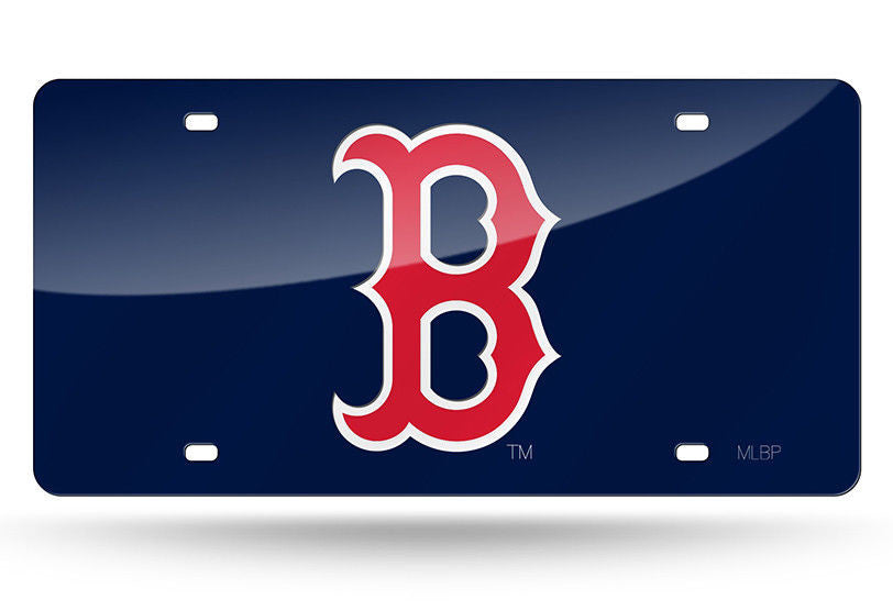 BOSTON RED SOX BLUE LASER CUT MIRROR CAR TAG LICENSE PLATE LOGO RED B SIGN