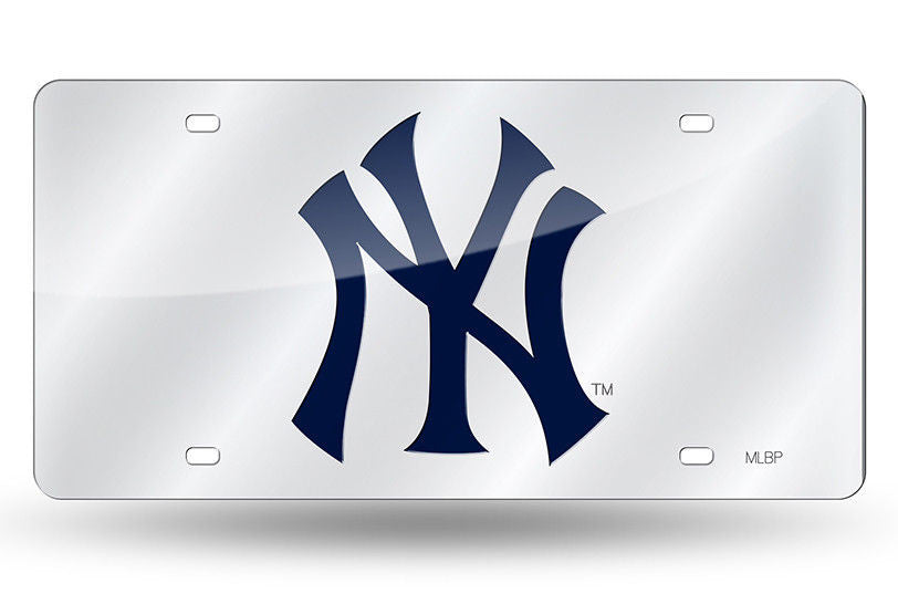 NEW YORK YANKEES SILVER LASER CUT MIRROR CAR TAG LICENSE PLATE LOGO SIGN NY
