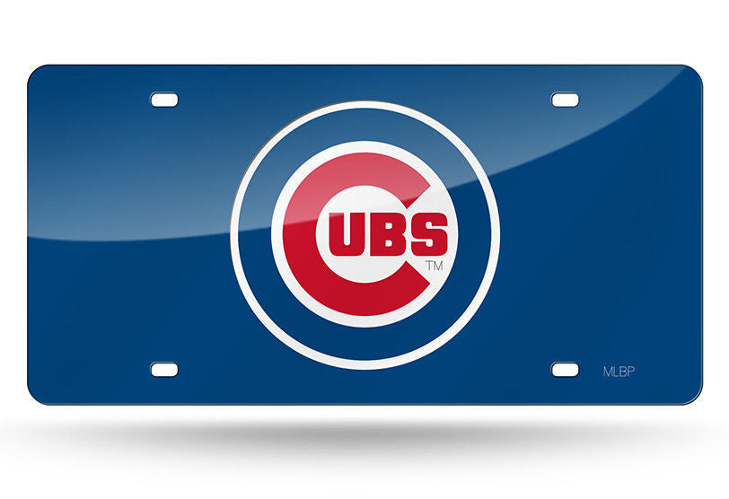 CHICAGO CUBS LASER CUT MIRROR LICENSE PLATE BLUE