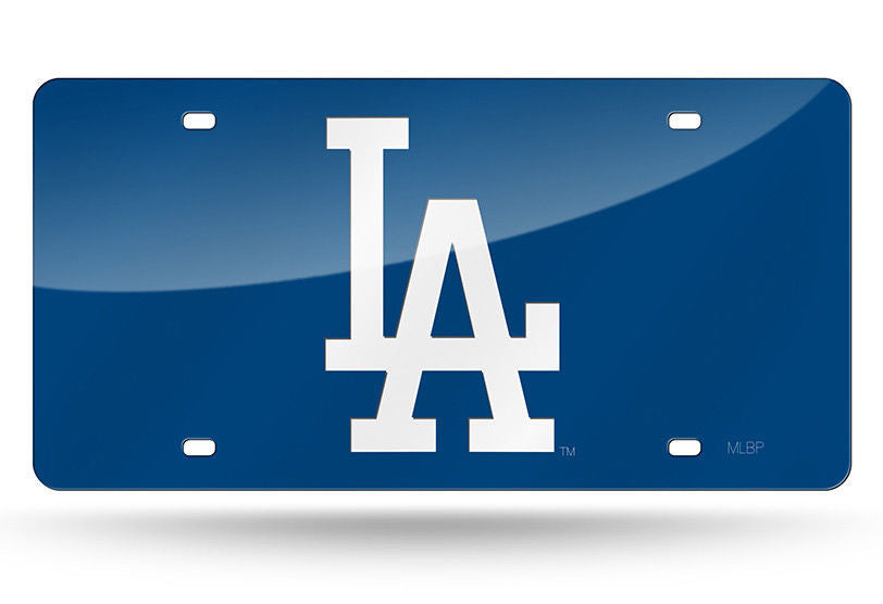 Los Angeles Dodgers Blue Laser Cut Mirror Car Tag License Plate Logo Sign La