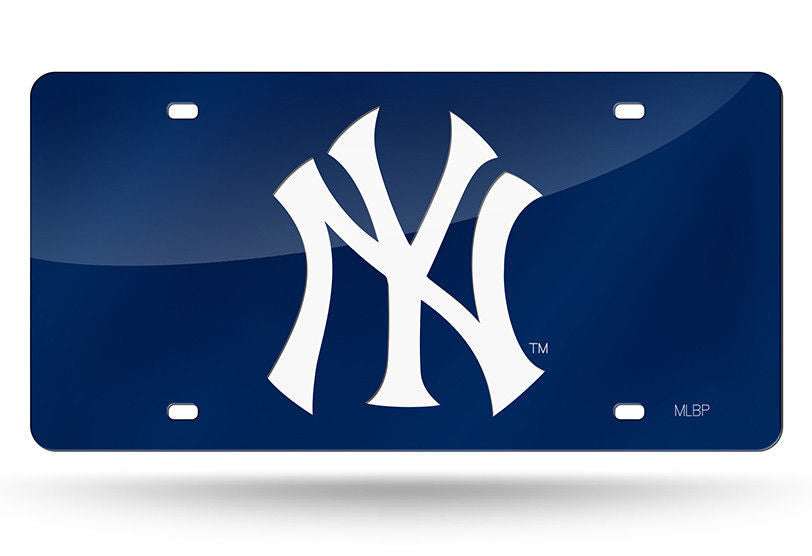 NEW YORK YANKEES BLUE LASER CUT MIRROR CAR TAG LICENSE PLATE LOGO SIGN NY