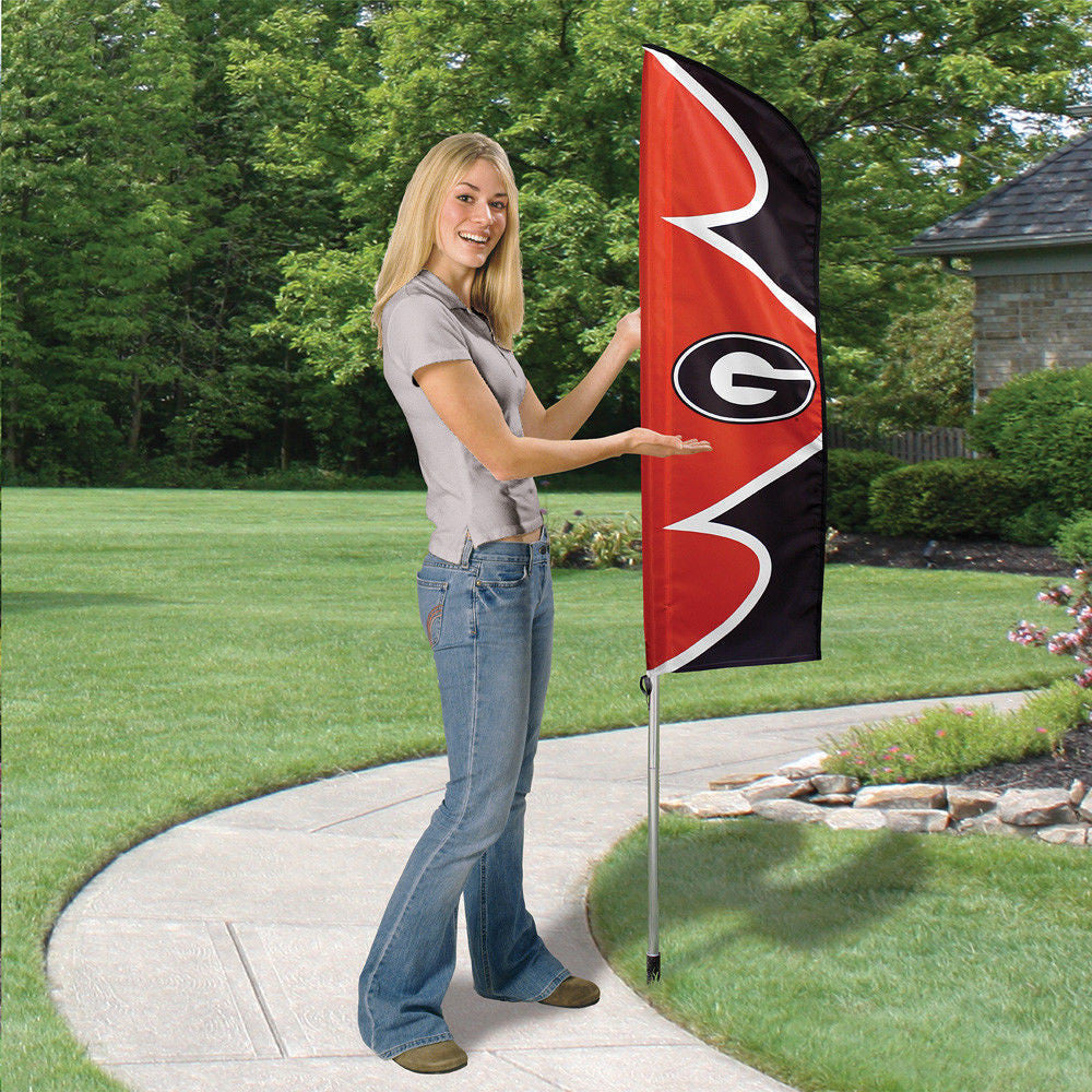 GEORGIA BULLDOGS 6 FOOT TALL FLAG STEEL POLE BANNER SWOOPER DOUBLE SIDED BANNER