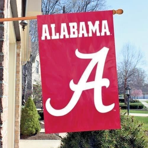 ALABAMA CRIMSON TIDE APPLIQUE EMBROIDERED 2 SIDED OVERSIZED HOUSE FLAG IN/OUTDR