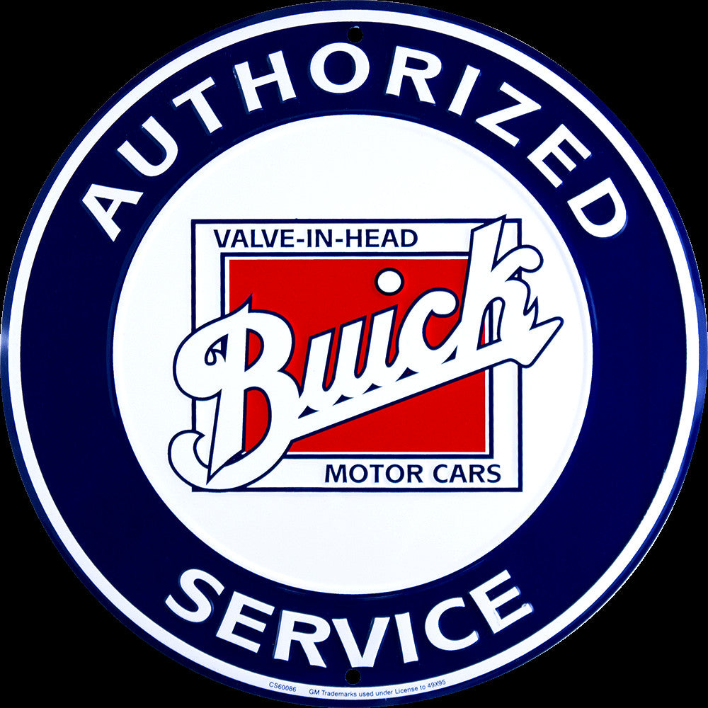 "BUICK AUTHORIZED SERVICE 12"" ROUND METAL TIN EMBOSSED SIGN MAN CAVE GARAGE AUTO"