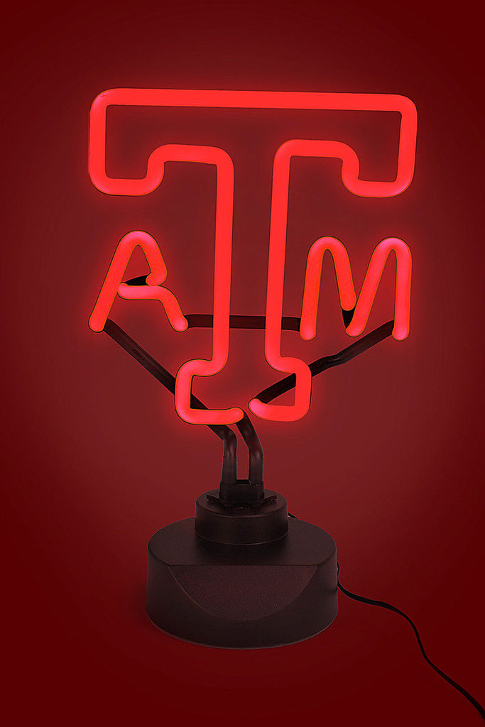 Texas A&M Aggies Neon Sign Light Table Top Lamp University Maroon Man Cave
