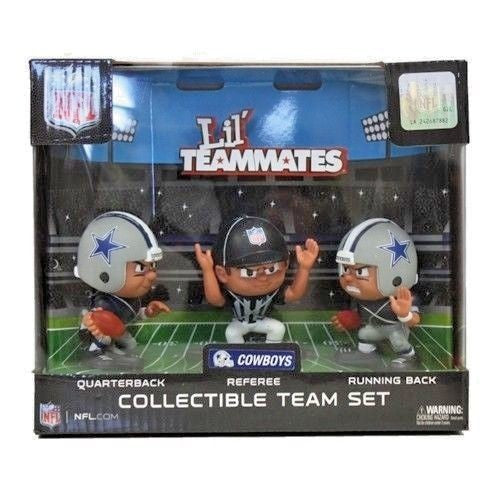 DALLAS COWBOYS LIL' TEAMMATES FIGURINE SET NFL PK OF 3 REFEREE QB RB COLLECTIBLE