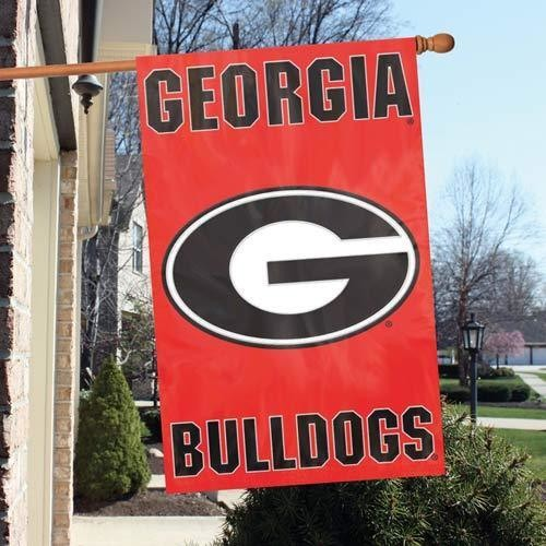 GEORGIA BULLDOGS APPLIQUE EMBROIDERED 2 SIDED OVERSIZED HOUSE FLAG IN/ OUTDOOR