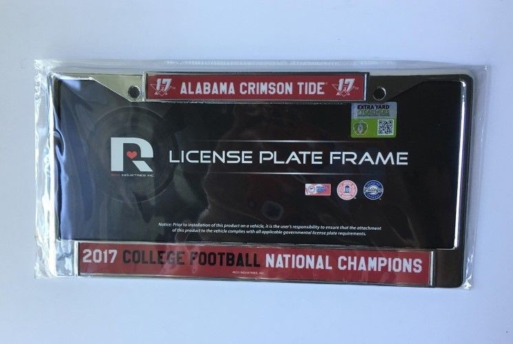 ALABAMA CRIMSON TIDE 2017 NATIONAL CHAMPS CAR TRUCK TAG METAL CHROME FRAME
