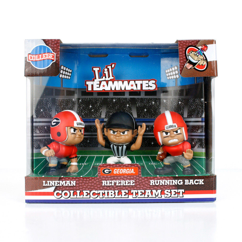 GEORGIA BULLDOGS LIL TEAMMATES FIGURINE SET NCAA PK OF 3 LINEMAN REFEREE RB