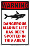 WARNING DANGEROUS MARINE LIFE METAL EMBOSSED SIGN OLE MISS LANDSHARK FINS UP