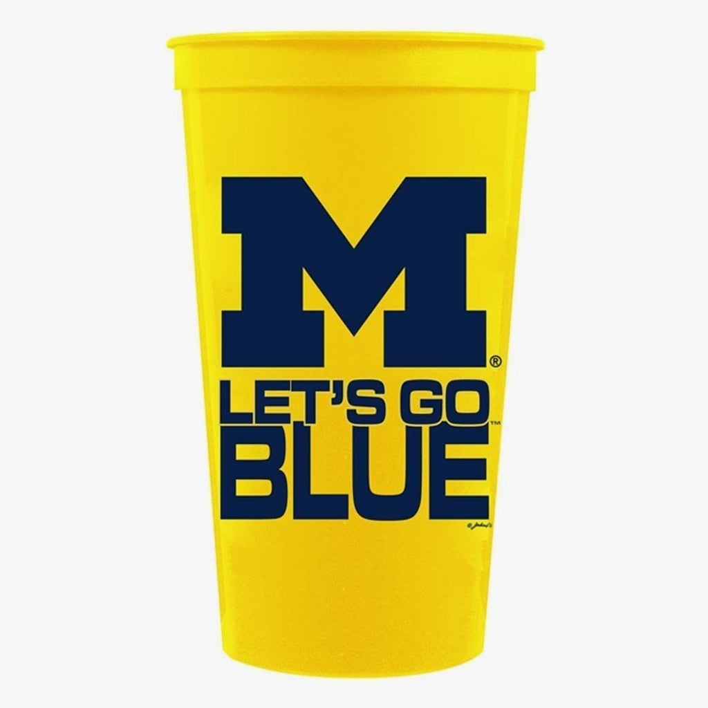 MICHIGAN WOLVERINES STADIUM TYPE CUPS 32OZ SET OF 4  TAILGATING LET'S GO BLUE