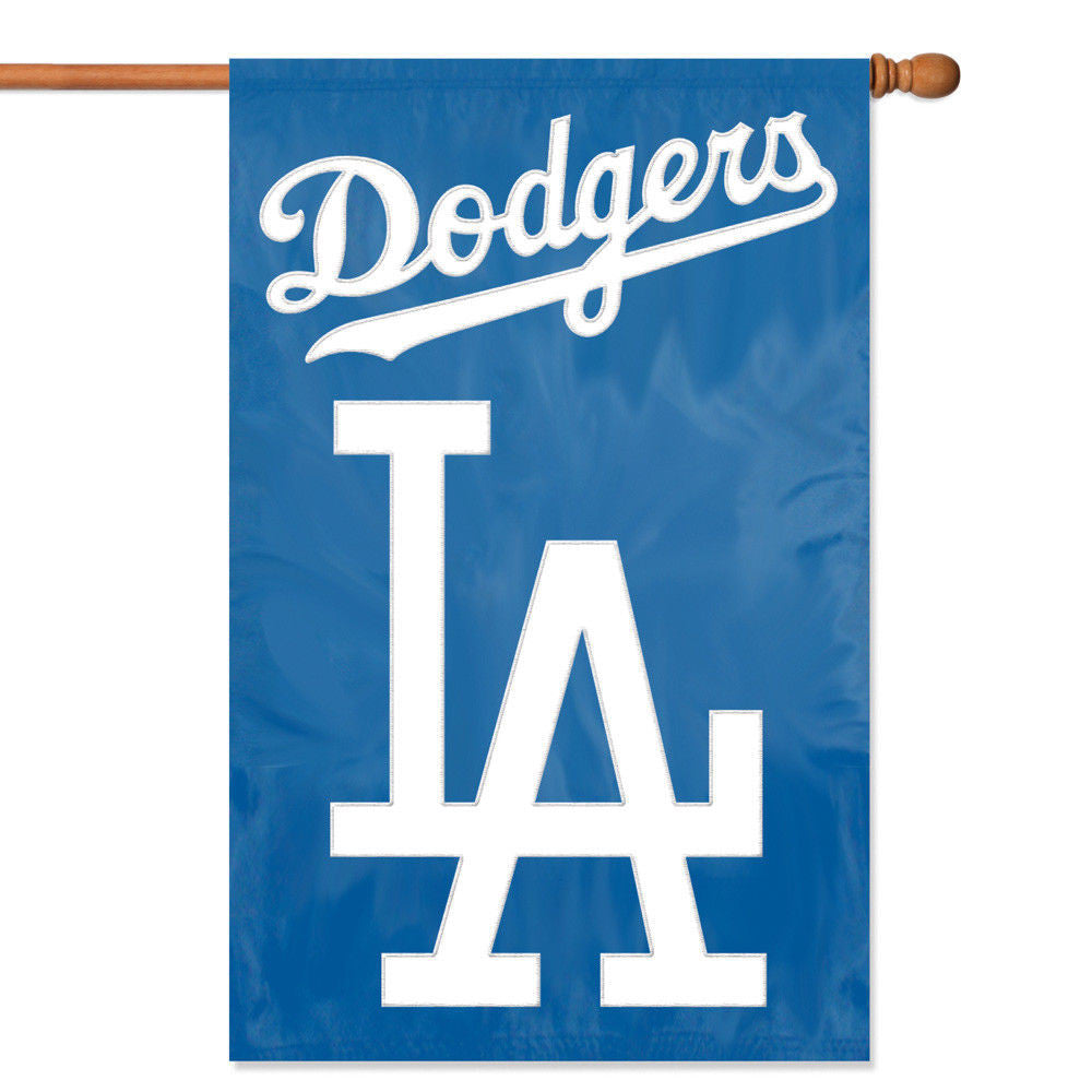 "LOS ANGELES DODGERS APPLIQUE BANNER HOUSE FLAG OUTDOOR 44""X28"" OVERSIZED SIGN LA"