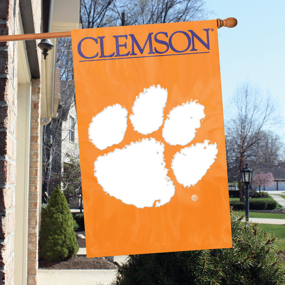 "CLEMSON TIGERS APPLIQUE BANNER HOUSE FLAG INDOOR OUTDOOR 44""X28"" OVERSIZED SIGN"