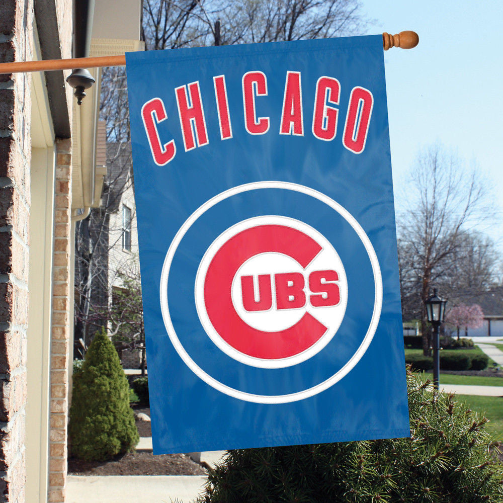 "CHICAGO CUBS APPLIQUE BANNER HOUSE FLAG OUTDOOR 44"" X 28"" OVERSIZED MAN CAVE"