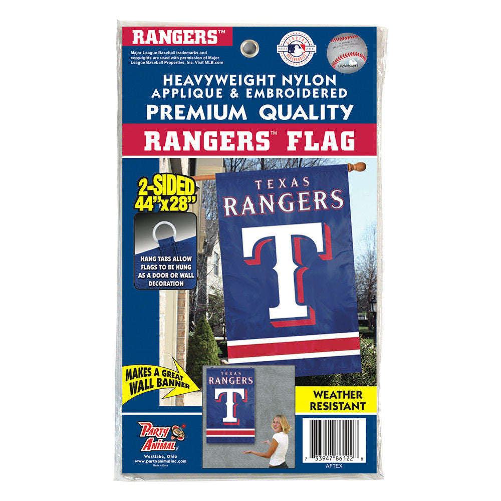 "Texas Rangers Applique Banner House Flag Outdoor 44""X28"" Oversized Sign Man Cave"