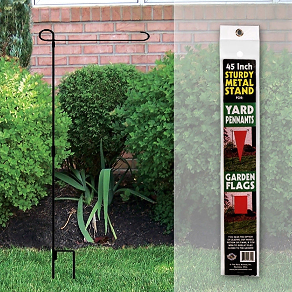 "FLAG STAND METAL GARDEN AND YARD PENNANT 45"" TALL 3 PIECE HEAVY DUTY"
