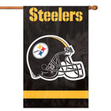 PITTSBURGH STEELERS APPLIQUE EMBROIDERED 2SIDED HOUSE FLAG INDOOR OUTDOOR NYLON