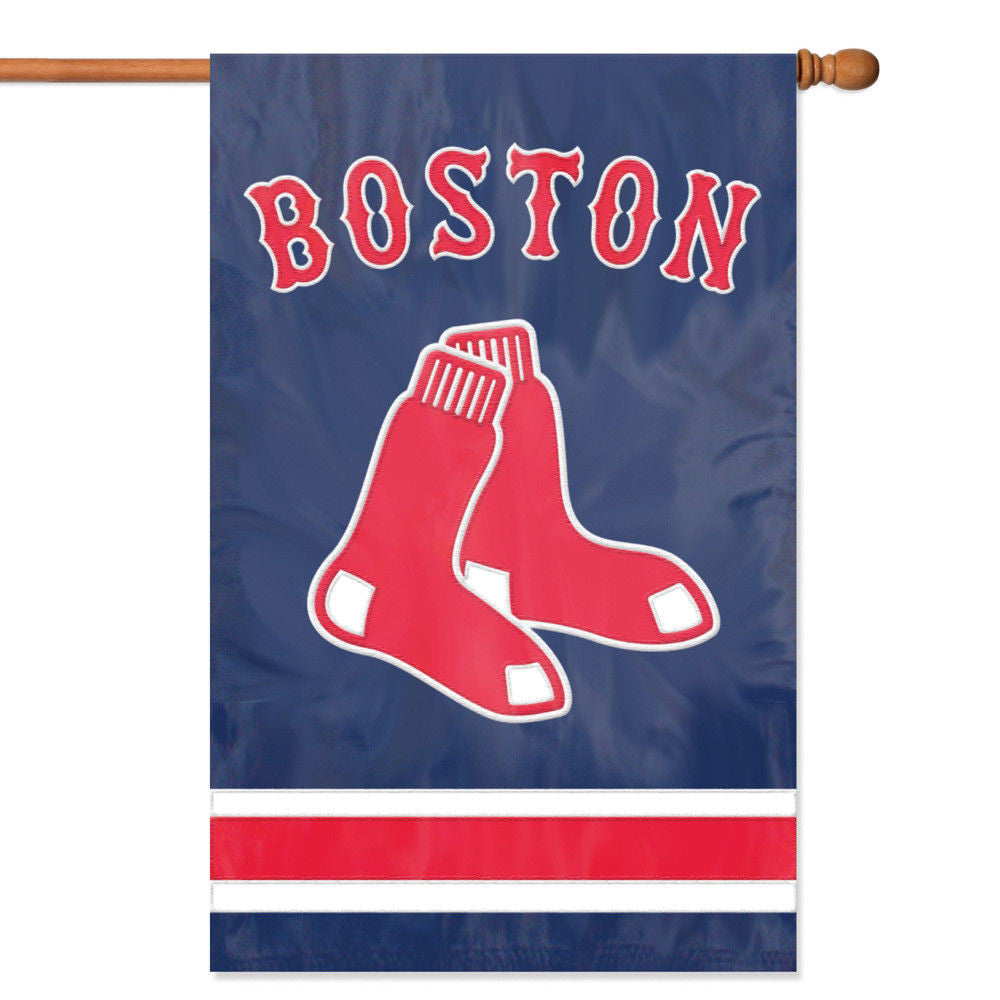 "BOSTON RED SOX APPLIQUE BANNER HOUSE FLAG OUTDOOR 44"" X 28"" OVERSIZED MAN CAVE"