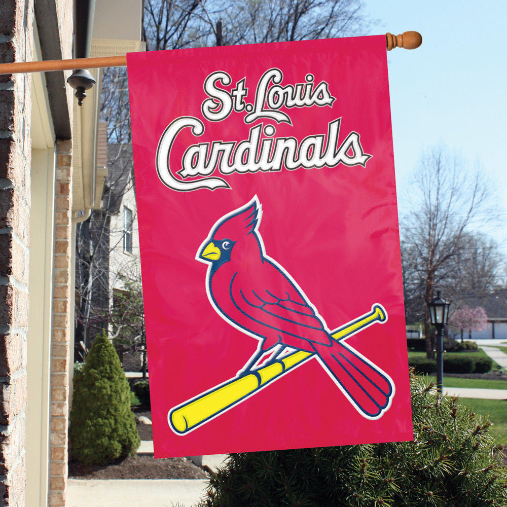 "ST. LOUIS CARDINALS APPLIQUE BANNER HOUSE FLAG OUTDOOR 44""X28"" OVERSIZED SIGN"