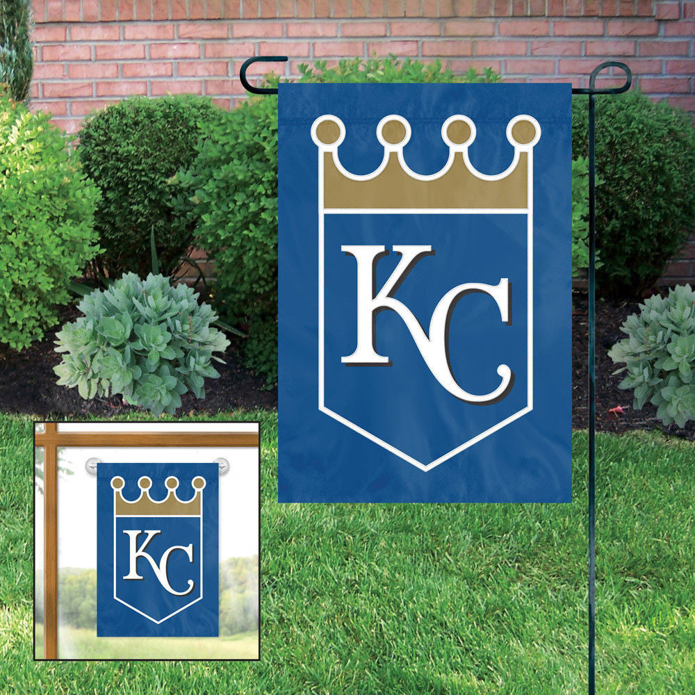 KANSAS CITY ROYALS GARDEN FLAG APPLIQUE EMBROIDERED W FREE WINDOW HANGER PREMIUM