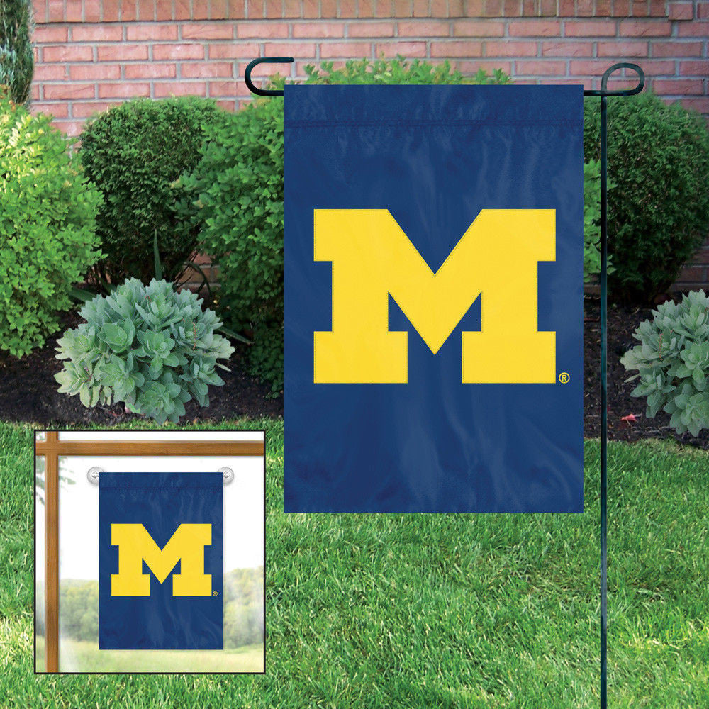 MICHIGAN WOLVERINES MINI FLAG APPLIQUE EMBROIDERED W FREE WINDOW HANGER GARDEN