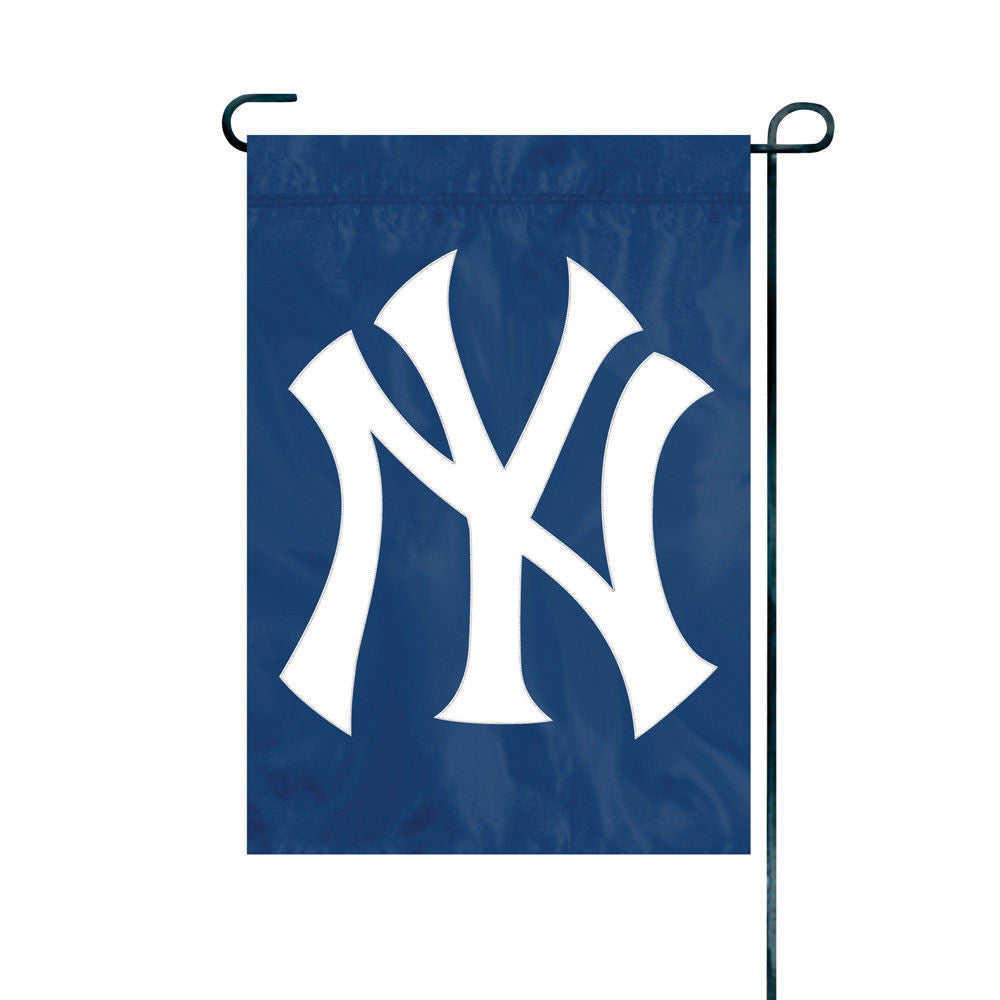 NEW YORK YANKEES GARDEN FLAG APPLIQUE EMBROIDERED PREMIUM QUALITY FULL SIZE