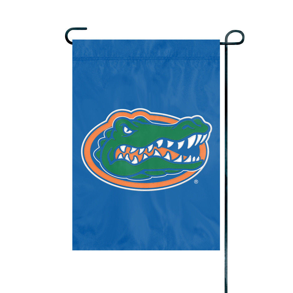 FLORIDA GATORS GARDEN FLAG APPLIQUE EMBROIDERED PREMIUM QUALITY FULL SIZE NYLON