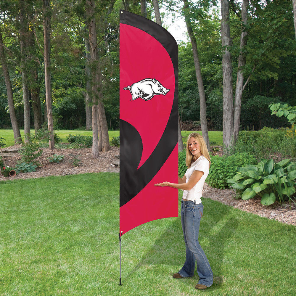 ARKANSAS RAZORBACKS 8.5 FOOT TALL TEAM FLAG 11.5' POLE SIGN BANNER APPLIQUE