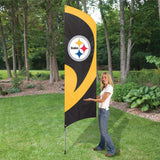 PITTSBURGH STEELERS 8.5 FOOT TALL TEAM FLAG 11.5' POLE SIGN BANNER SWOOPER NFL
