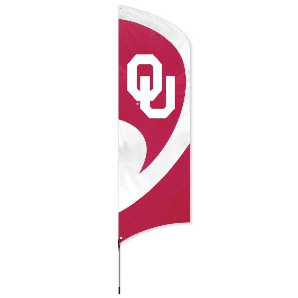 OKLAHOMA SOONERS 8.5 FOOT TALL TEAM FLAG 11.5' POLE SIGN BANNER APPLIQUE