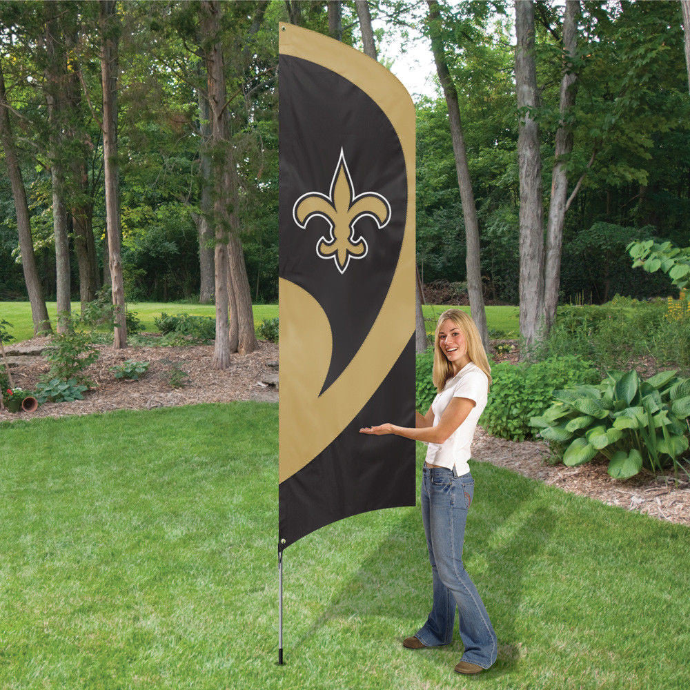 NEW ORLEANS SAINTS 8.5 FOOT TALL TEAM FLAG 11.5' POLE SIGN BANNER SWOOPER NFL