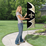 NEW ORLEANS SAINTS 6 FOOT TALL TEAM FLAG STEEL POLE SIGN SWOOPER DOUBLE SIDED