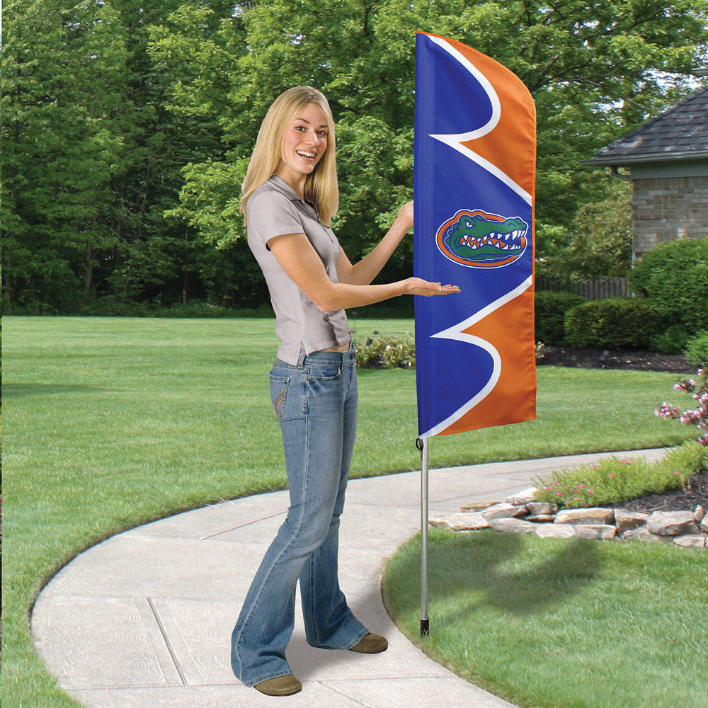 FLORIDA GATORS TIDE 6 FOOT TALL FLAG STEEL POLE BANNER SWOOPER DOUBLE SIDED NCAA