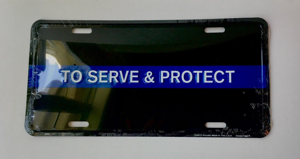 TO SERVE & PROTECT POLICE BLUE LINE ALUMINUM CAR TRUCK TAG LICENSE PLATE LAW