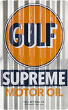 GULF SUPREME MOTOR OIL PITTSBURGH CORRUGATED METAL SIGN 12X18