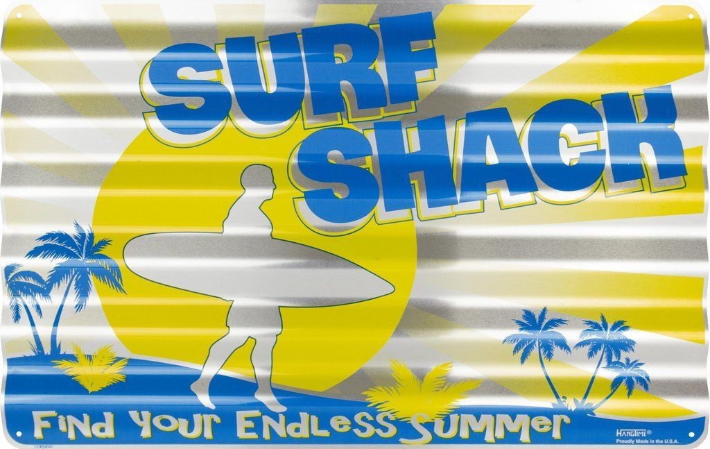 "SURF SHACK CORRUGATED METAL SIGN 18X12"" TIN RETRO MANCAVE ENDLESS SUMMER BEACH"