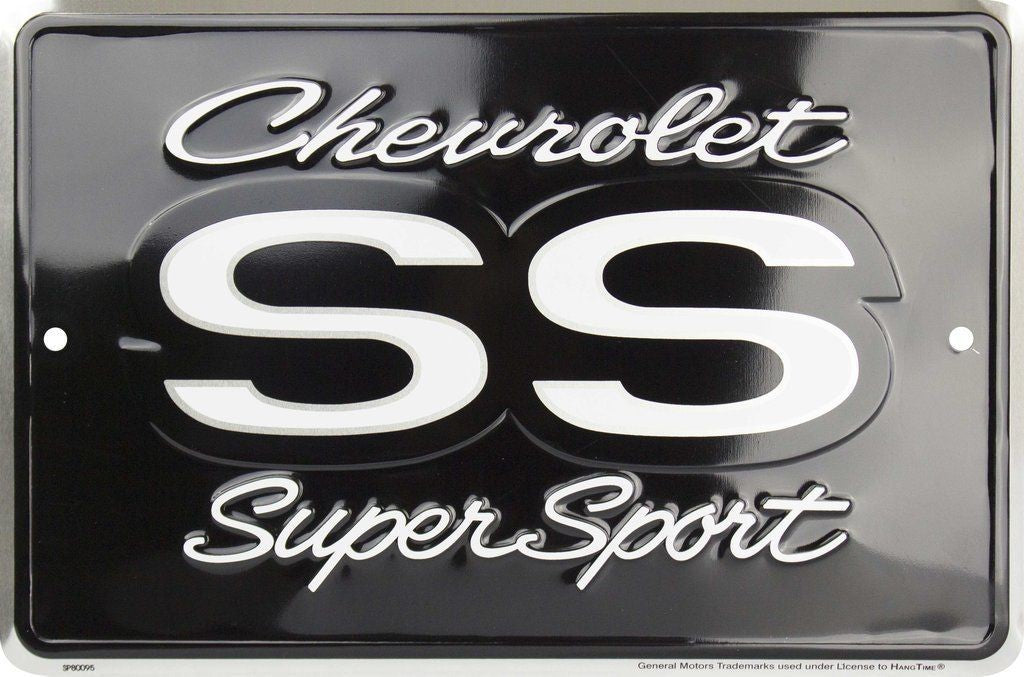 "CHEVROLET SS SUPER SPORT SMALL PARKING SIGN 8 x 12"" METAL EMBOSSED MANCAVE"