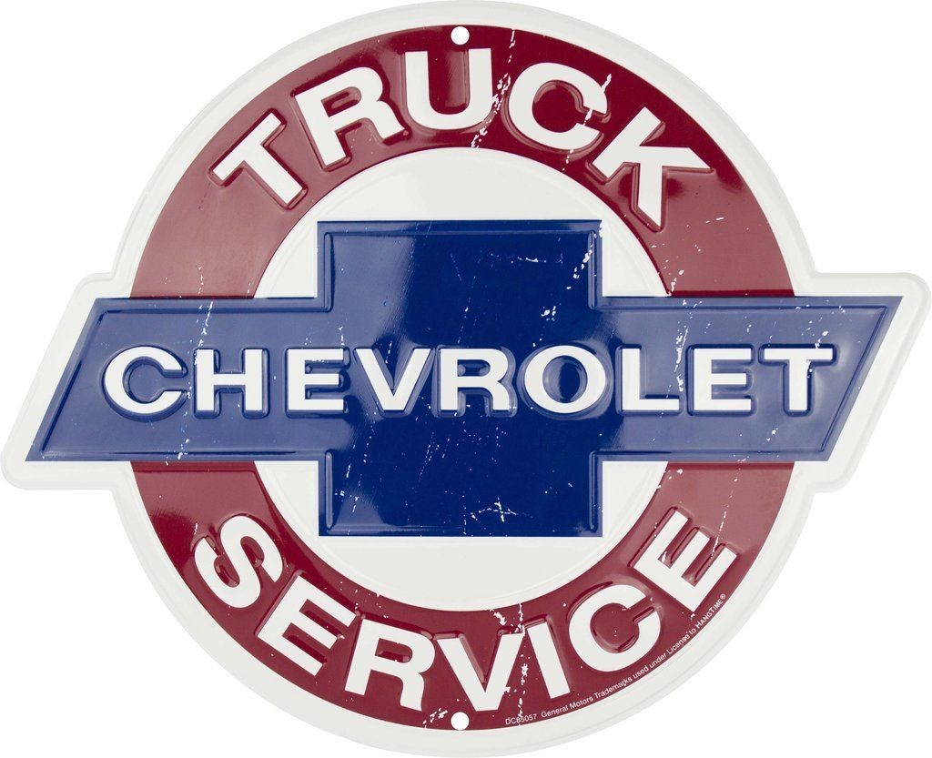 "CHEVROLET TRUCK SERVICE 12"" ROUND METAL TIN EMBOSSED SIGN MAN CAVE GARAGE AUTO"