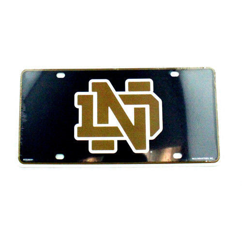NOTRE DAME FIGHTING IRISH CAR TRUCK TAG LICENSE PLATE METAL SIGN MAN CAVE