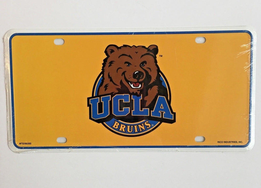 UCLA BRUINS CAR TRUCK TAG LICENSE PLATE METAL SIGN MAN CAVE YELLOW BEAR
