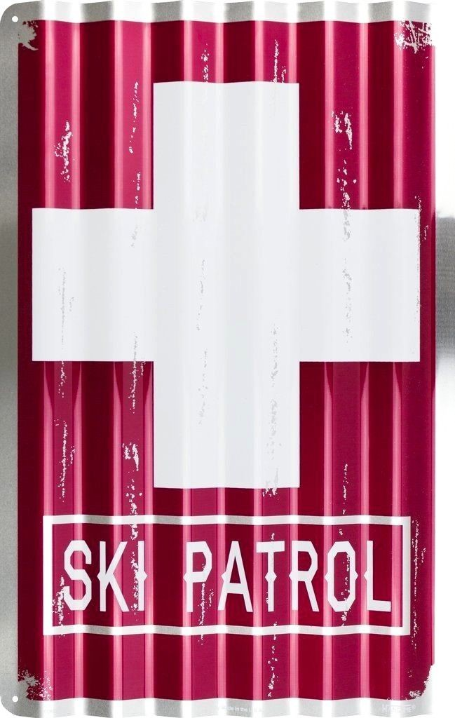 "SKI PATROL CORRUGATED METAL SIGN 12"" X 18"" RED DISTRESSED RETRO SKIING RESORT"