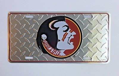 FLORIDA STATE SEMINOLES CAR TRUCK TAG DIAMOND LICENSE PLATE METAL SIGN