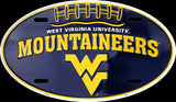 WEST VIRGINIA MOUNTAINEERS CAR TRUCK TAG OVAL FOOTBALL LICENSE PLATE MAN CAVE