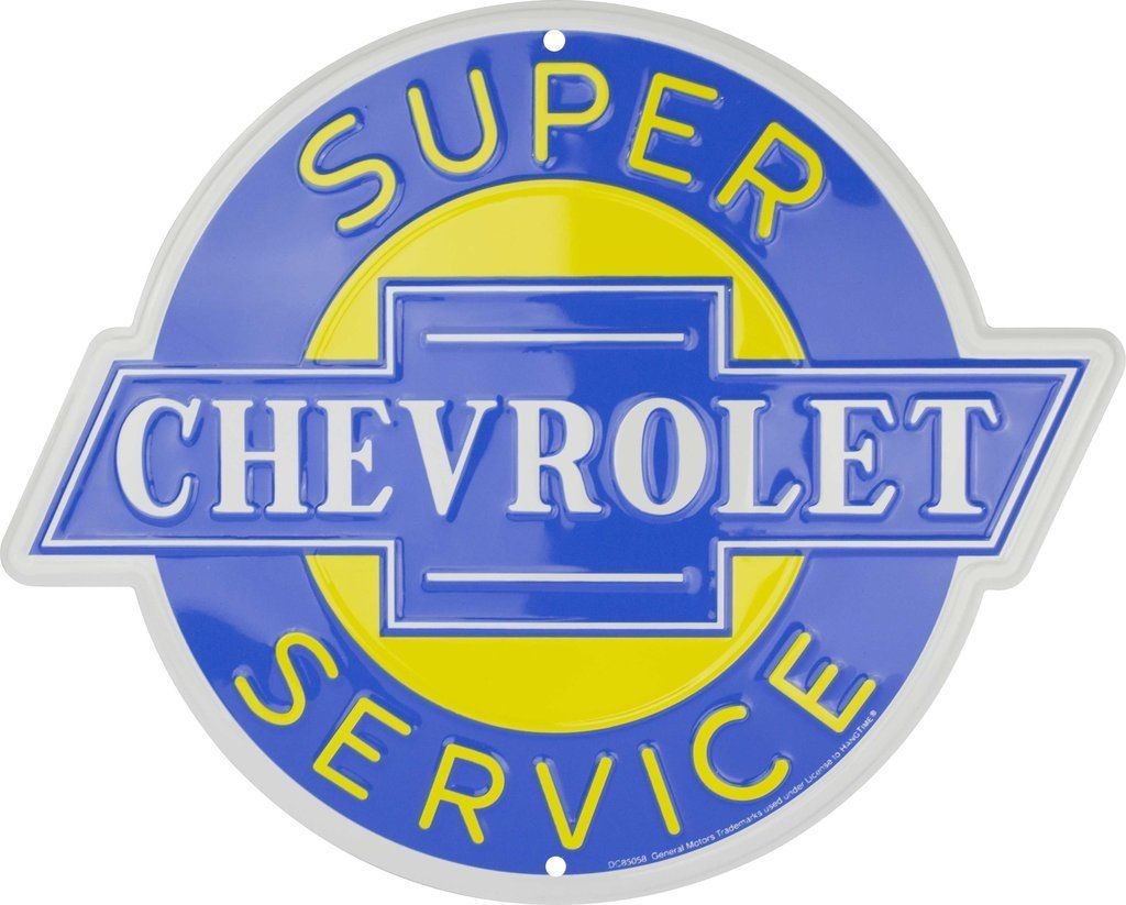 "CHEVROLET SUPER SERVICE 12"" ROUND METAL TIN EMBOSSED SIGN MAN CAVE GARAGE AUTO"
