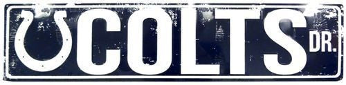 "INDIANAPOLIS COLTS STREET METAL 24 X 5.5"" SIGN DRIVE NFL DR ROAD AVE DISTRESSED"