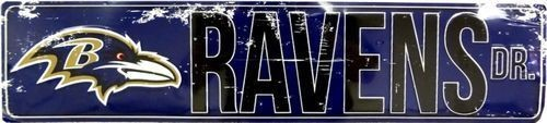 "BALTIMORE RAVENS STREET METAL 24 X 5.5"" SIGN DRIVE NFL DR ROAD AVE DISTRESSED"
