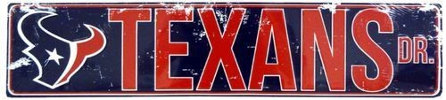 "HOUSTON TEXANS STREET METAL 24 X 5.5"" SIGN DRIVE NFL DR ROAD AVE DISTRESSED"