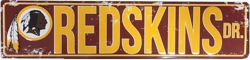 "WASHINGTON REDSKINS STREET METAL 24X5.5"" SIGN DRIVE NFL DR ROAD AVE DISTRESSED"