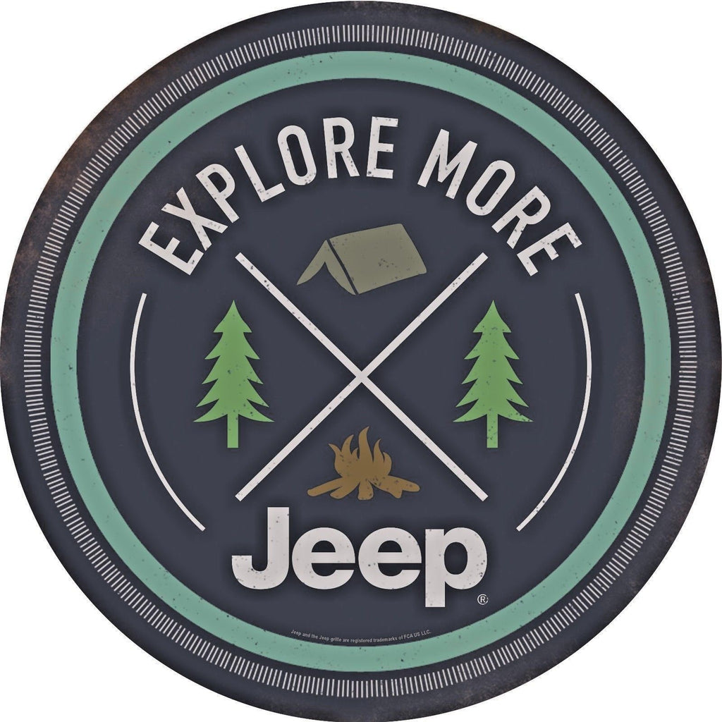"JEEP EXPLORE MORE ROUND METAL EMBOSSED SIGN 12"" GARAGE MANCAVE DIE CUT"