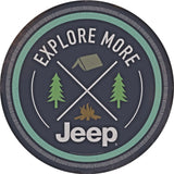 JEEP EXPLORE MORE ROUND METAL EMBOSSED SIGN 12